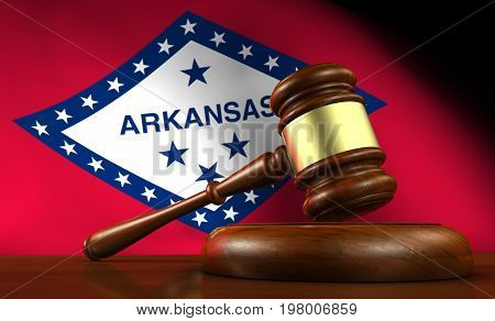Arkansas state laws legal system and justice concept with a 3D rendering of a gavel and flag on background.