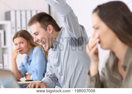 Man Showing A Sweaty And Stinky Underarm