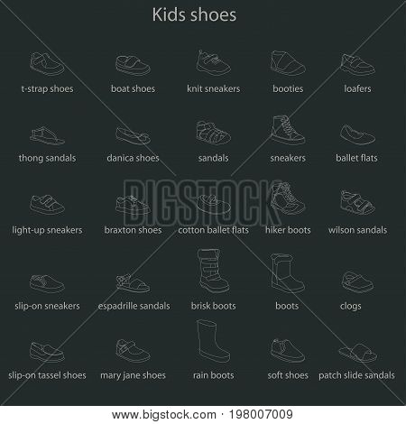 Kids shoes, set, collection of fashion footwear with names. Baby, girl, boy, child, childhood. Vector design isolated illustration. Chalk outlines, dark background