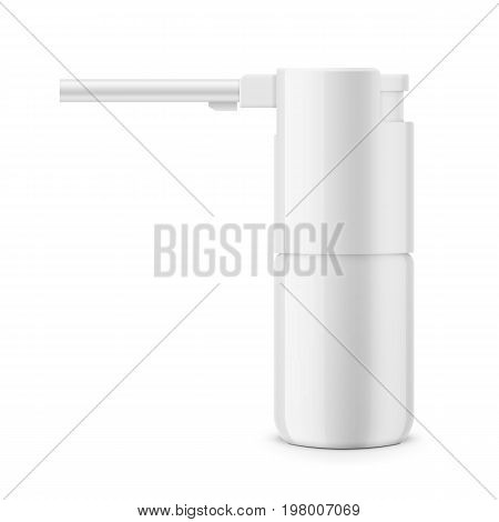 White glossy oral spray or aerosol bottle. 30 ml. Realistic packaging mockup template. Side view. Vector illustration.
