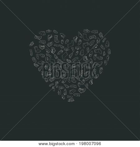 Kids shoes, set, collection of fashion footwear, poster in shape of heart. Baby, girl, boy, child, childhood. Vector design isolated illustration. Chalk outlines, dark background