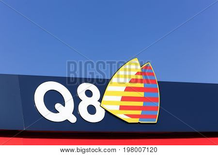 Horsens, Denmark - September 30, 2015: Kuwait Petroleum International, known by the Q8 brand, refines and markets fuel, lubricants and other petroleum derivatives outside Kuwait