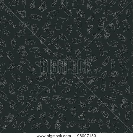 Kids shoes, set, collection of fashion footwear, seamless pattern. Baby, girl, boy, child, childhood. Vector design isolated illustration. Chalk outlines, dark background