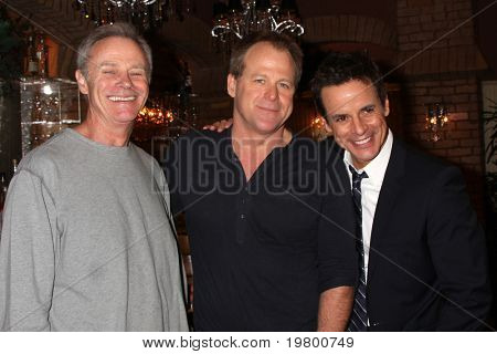 LOS ANGELES - MAR 24:  Tristian Rogers, Kin Shriner, Christian LeBlanc at the Young & Restless 38th Anniversary On Set Press Party at CBS Television City on March 24, 2011 in Los Angeles, CA