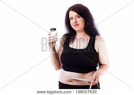 Overweight Fat Woman Show Bottle With Slim Pills And Measuring T