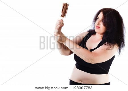 Young Overweight Food Addicted Woman Struggling With Herself, Ke