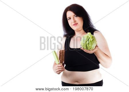 Young Overweight Food Addicted Woman Choosing Between Junk And H