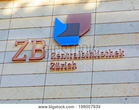 Zurich Switzerland - June 10 2017: Library sign of Zurich