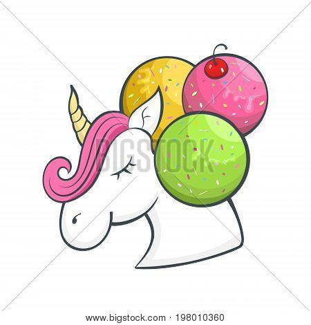 Vector bright unicorn, cartoon style, logo for the ice cream shop, children's holiday, print design for a T-shirt.