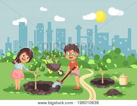 Stock vector illustration cartoon characters of children boy and girl dig hole in ground for planting in garden seedlings of tree watering water from geek, taking care of ecology city in flat style