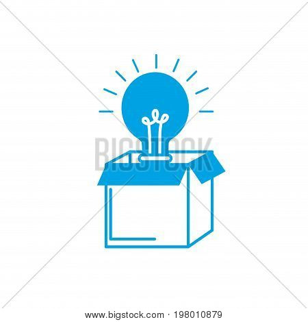 silhouette open box with electric bulb light vector illustration