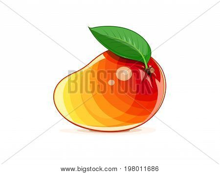 Mango. Ripe juicy tropical fruit with green leaf. Natural organic vegetarian healthy food. Isolated white background. Vector illustration.