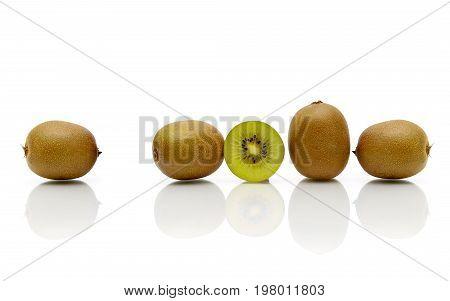Ripe kiwi fruit isolated on white background. Horizontal photo.