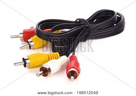 RCA Cable or plugs on white background