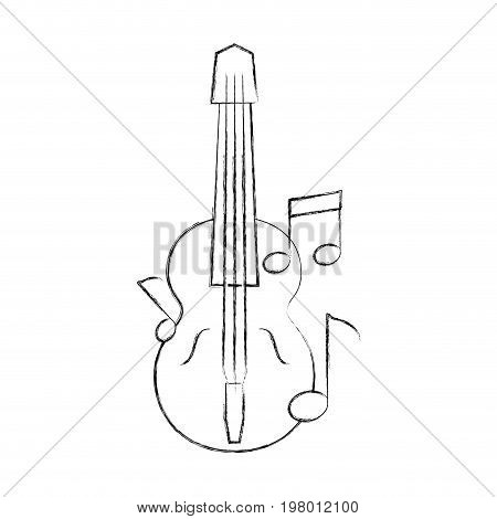 acoustic guitar with music notes vector illustration design