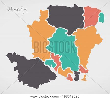 Hampshire England Map With States And Modern Round Shapes
