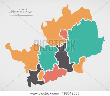 Hertfordshire England Map With States And Modern Round Shapes
