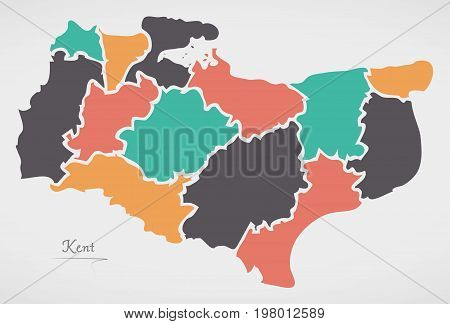 Kent England Map With States And Modern Round Shapes