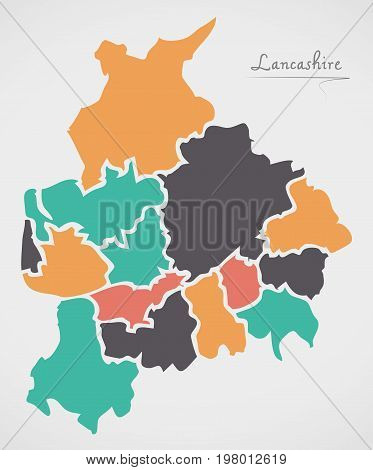 Lancashire England Map With States And Modern Round Shapes