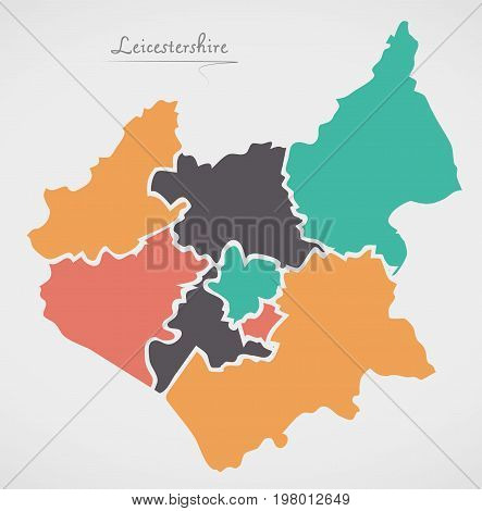 Leicestershire England Map With States And Modern Round Shapes