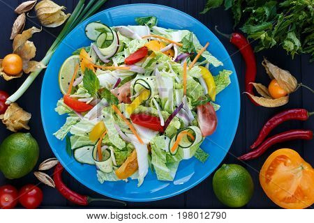 Fresh Vegetable Thai Salad With Soybean Sprouts On Blue Plate, D