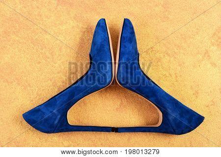 Pair Of Suede Female Footwear. Formal High Heel Shoes