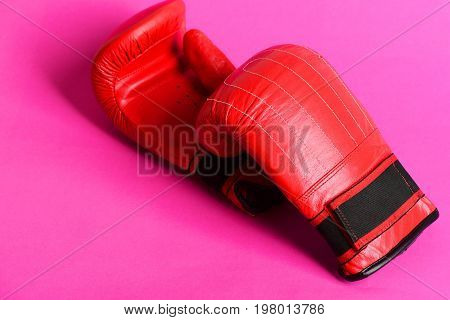 Leather Boxing Sport Mittens In Striking Red Color