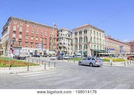 SPLIT, CROATIA - JULY 12, 2017: Square Franje Tudmana in the center of the Split in summer.
