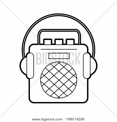 radio music player with earphones vector illustration design