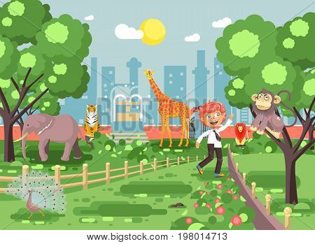 Stock vector illustration banner for site with schoolchild on walk, school zoo excursion zoological garden, boy redhead teases monkey, peacock, elephant, lion, tiger, giraffe, wild animals flat style