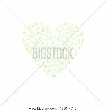 Kids shoes, set, collection of fashion footwear, poster in shape of heart. Baby, girl, boy, child, childhood. Vector design isolated illustration. Green and yellow outlines, white background
