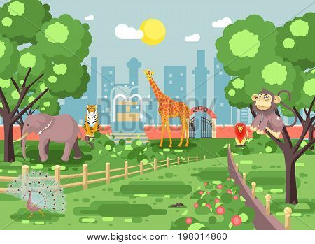 Stock vector illustration banner landscape, scenery, view, for site with zoo excursion, zoological garden, monkey, peacock, elephant, lion, tiger, giraffe wild animals flat style city background