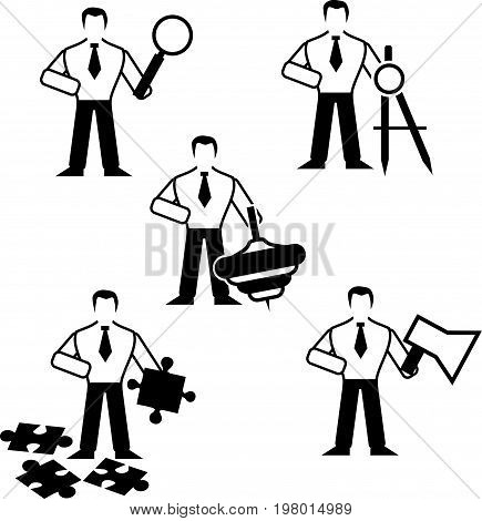 Set of five black and white business icons, which symbolize the search, design, activity, ability to solve problems and sociability. Black and white silhouette of a man holding a magnifier, a drawing compass, a toy top, a puzzle and a horn