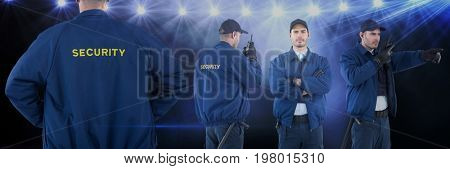 Digital composite of Security guard man collage against concert background