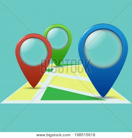 Three Color Geolocation Signs