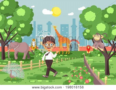 Stock vector illustration banner for site with schoolchild on walk school zoo excursion zoological garden, brunette little boy monkey, peacock, elephant, lion, tiger, giraffe, wild animals flat style