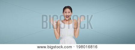 Digital composite of Surprised woman against wide blank blue