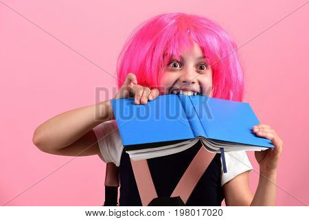 School Girl With Surprised Sight Isolated On Pink Background