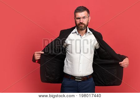 Guy With Open Jacket And Notebook. Man In Classic Outfit