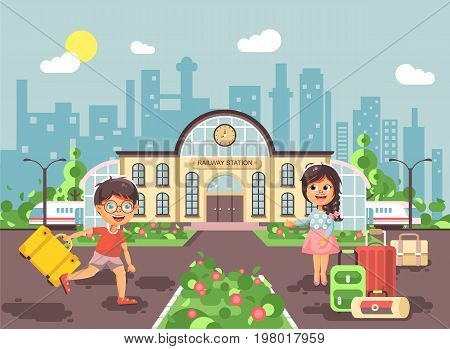 Stock vector illustration of cartoon characters children, late boy running on perron, little girl standing at railway station building with bags and suitcases awaiting train flat style city background