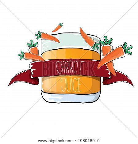 vector glass of carrot juice and fresh orange carrots isolated on white background. vegan juice hand drawn design template