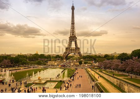 PARIS FRANCE - MAY 07 2015: View at famous Tour Eiffel in the evening Paris France