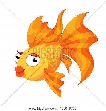 Goldfish cartoon character smiling fashionable gold Princess