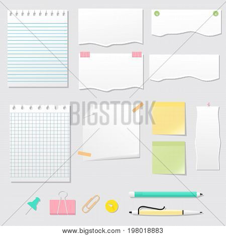 Collection with notepads torn paper stickers paper clips pen and pencil. Vector backgrounds and clip art.