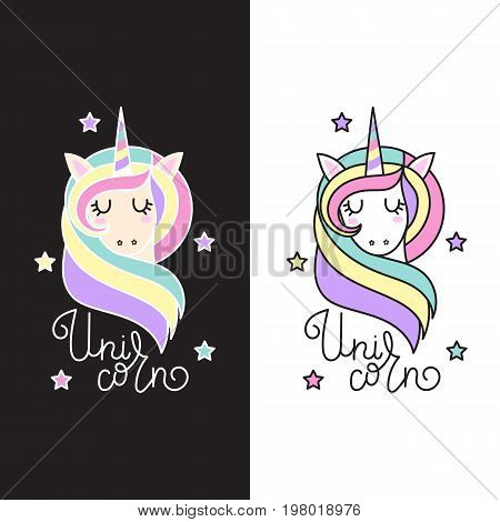 Cute unicorn with stars and inscription - unicorn in pastel colors on a white and black background. Perfect for decorating presents scrapbook pages party decorations apparel birthday.