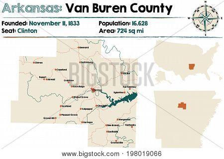 Large and detailed map of Arkansas - Van Buren county