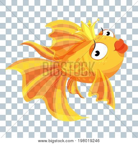 Goldfish Princess with a Golden crown painted lips stylish and glamorous.
