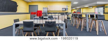 Panorama of modern lunchroom interior with wooden tables and black chairs kitchenette in background