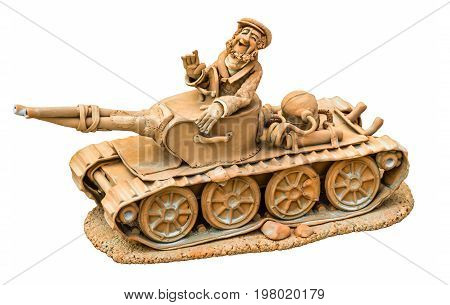 Cheerful tanker on the tank clay sculpture isolated