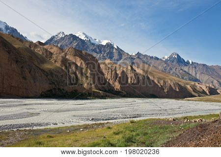 The view of the mountain range and understand the riverbed in the gorge of the Tien-Shan. Kyrgyzstan